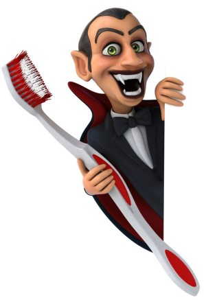 Dracula holding toothbrush
