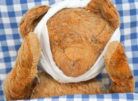 Teddy Bear's face bandage